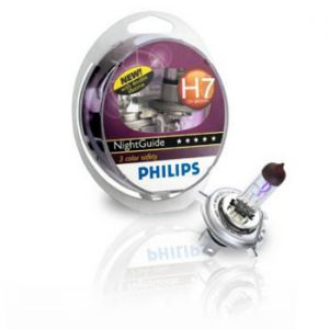 Галогенные лампы Philips H7 R NightGuide DoubleLife (три спектра) (2шт.)
